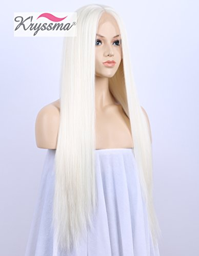 K'ryssma Long Straight White Blonde Synthetic Lace Front Wigs For White Women Silk Straight Mixed Color Long Glueless Half Hand Tied Replacement Full Wig Heat Resistant For Dear Wear 24 Inch -