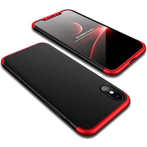 iPhone X Case, Wellerly Ultra Slim Thin 360 Degree Full Body Protection Hard PC Premium Case Hybrid Anti Fingerprint Scratches Soft Grip Cover for iPhone X 5.8inch (2017) - Black+Red