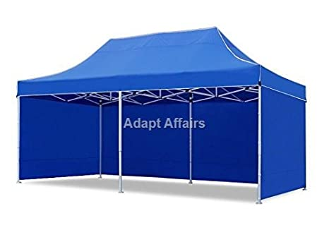 Invezo Impression Portable Gazebo Tent Canopy Tent 10 X 20 Ft 3 X 6 M 45 Kgs Foldable Reusable Canopy 2 Minute Installation Blue Color With 3 Side Cover Amazon In Garden Outdoors