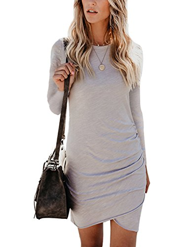 CAIYING Womens Summer Casual Solid Ruched Short Sleeve T-Shirt Midi Dress (Grey(LS), M)