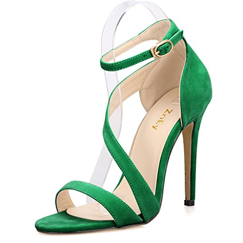 Ankle Sandals Strappy Strap Velvet Thin Cuff UK Green 6 Peep Size Ladies 5 High Women's Heel Shoes Toe 4Ywx5CXq4n