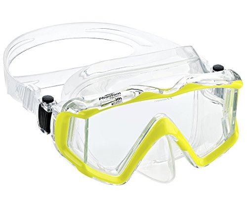 Phantom Aquatics Rapido Boutique Collection Clareza Panoramic Three Window Tempered Glass Lens Scuba Snorkeling Dive Mask
