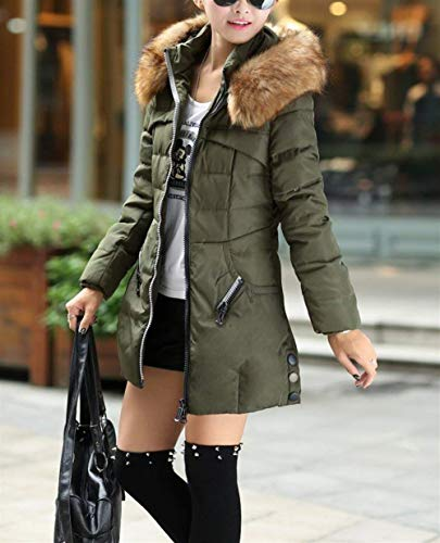 Capuche Slim avec Fausse Manteau Fourrure en Longues Fit Fashion El Femme Hiver Manches Coat Ex4qf0fY