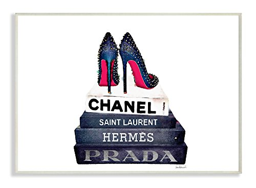Stupell Industries Glam Fashion Book Set BW Stud Pump Heels Oversized Wall Plaque Art, Proudly Made in (Glam Stud)