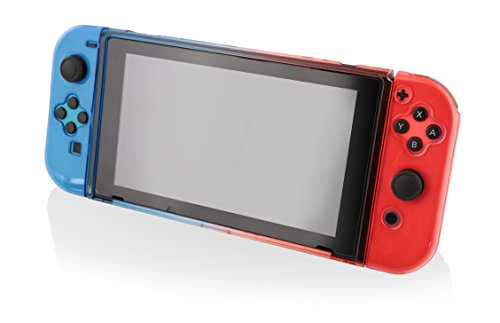 Nyko Protective Case - Nyko Thin Case - Dockable Protective Case with Tempered Glass Screen Protector for Nintendo Switch - Red/Blue