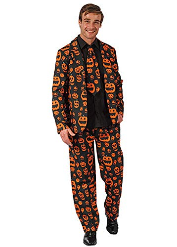 Newhui Men's Halloween Skull Pumpkin Printing Black Suits Tuxedo Pants Jacket with Tie (Small) -
