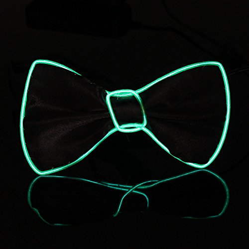 Xcellent Global El Wire Light Up Black Bow Tie Light Party Decorations Party Lights for Halloween Christmas, Green LD128G