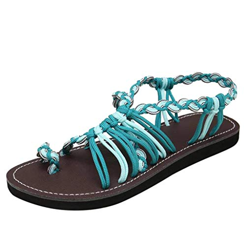 TnaIolral Women Sandals Hemp Rope Flip Flops Summer Roman Beach Shoes (US:7, Green)