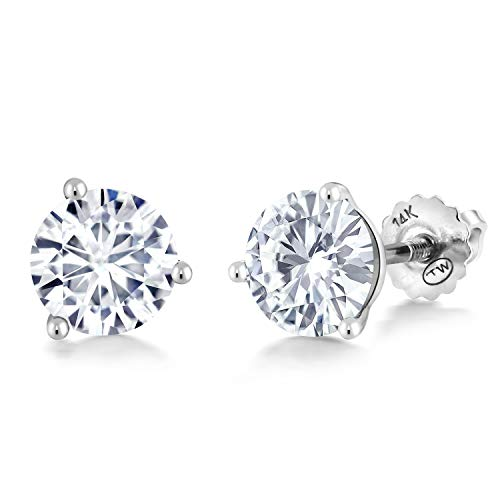 14K White Gold 3-Prong Martini Stud Earrings Forever Brilliant (GHI) Round 2.40ct (DEW) Created Moissanite by Charles & - Martini Studs 3 Prong