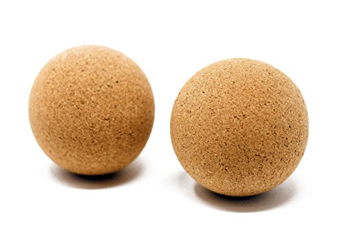 100% Natural Cork Massage Ball Set | Lacrosse Ball Size for Deep Tissue Trigger Point Therapy | High Density, Non-Toxic + (Peace Roller Ball)
