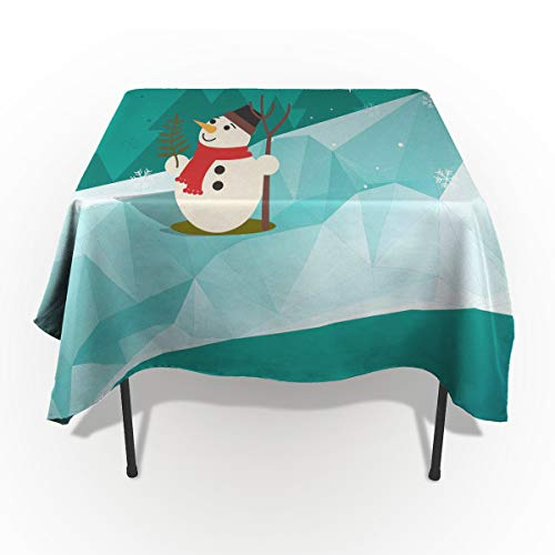 (Fantasy Star Rectangle Polyester Tablecloth, Snowman On The Ice Tablecloths Machine Washable Table Cover Decorative Table Cloth Kitchen Dinning Banquet Parties 60 x 60)