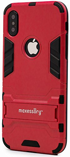 iPhone X Case, Maxessory Red Stealth Ultra-Slim Dual-Layer Shock-Proof Rugged Heavy-Duty Rubber Grip Rigid Hybrid Armor Shell Cover w/Kickstand