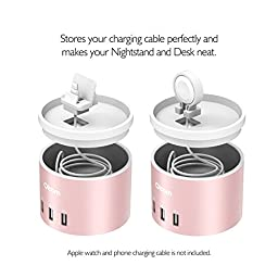 Oittm Apple Watch Series 2 Charging Stand, [Nightstand Mode] [3 in 1 Bracket Power Charger ]4-Port USB Charging Stand with Phone Holder for iPhone 7, 7 Plus, Apple Watch, Nike+ (Rose Gold)