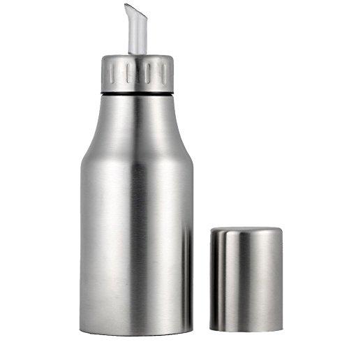 Onerbuy Non Drip Stainless Steel Olive Oil Dispenser Leak-proof Oil Bottle Vinegar Sauce Cruet Edible Oil Container Pot with Pouring Spout ()