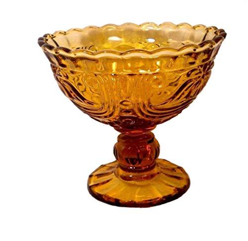 Ornate Pressed Glass Large Stemmed Dessert Bowl (Purple)