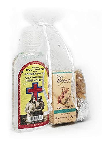 - HOLYmoly Baptism Kit - Christening Set: Prayer Oil Frankincense & Myrrh, Authentic Jordan River Water, Frankincense Grains & Charcoal - ALL From The Holy Land.
