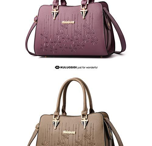 de élégants à Sacs Purple capacité broderie de sacs Sacs femmes bandoulière cuir à de de grande main en dames main d'épaule à des pour 6wxSxEPqH