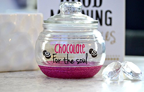 Customized Candy Jar - a glitter candy jar that is fully personalized. Because Chocolate is for the soul.
