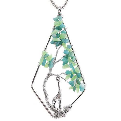 ALoveSoul Amulet Gift Giraffe Wire Wrapped Tumbled Gemstone