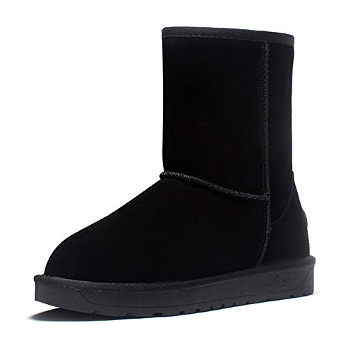 Eastlion Unisex Winter Outdoor Keep Warm Fleece Lined Wearable Sequins Snow Boots Mid Calf Boots Shoes Size 35-44 Black