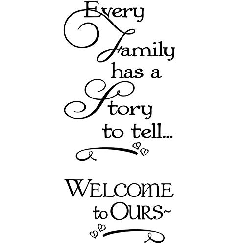 """DNVEN (Black Large 22""""w X 49""""h) Every Family Has a Story to Tell...welcome to Ours Decal Sticker Wall Vinyl Art Girl Boy Teen Baby Home Vinyl Wall Decals Quotes Sayings Words Art Decor"""