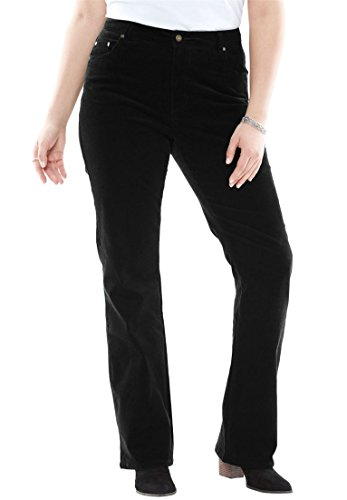 Women's Plus Size Bootcut Stretch Corduroy Jean Black,16 - Pocket Bootcut Pants Corduroy