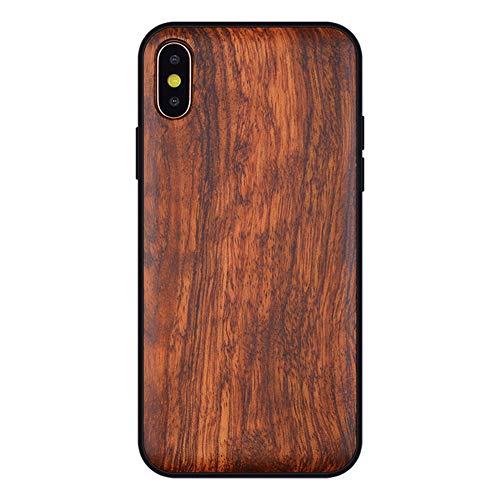 (Boogice iPhone XR Wood Case - Premium Finish Unique Cases - Lightweight Natural Wooden Hybrid Snap-Rubber Protective Shockproff Covers for iPhone XR (Rosewood, iPhone XR(6.1''Display)))