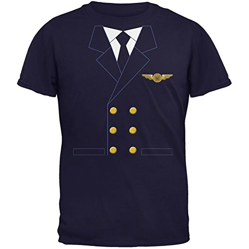 Old Glory Halloween Airline Airplane Pilot Navy Youth T-Shirt - Youth -