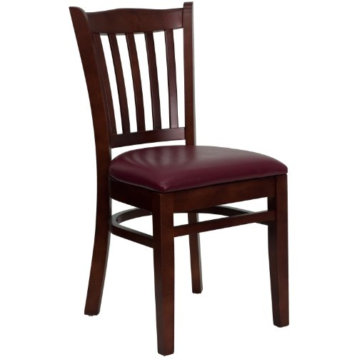 MFO Mahogany Finished Vertical Slat Back Wooden Restaurant Chair - Burgundy Vinyl Seat