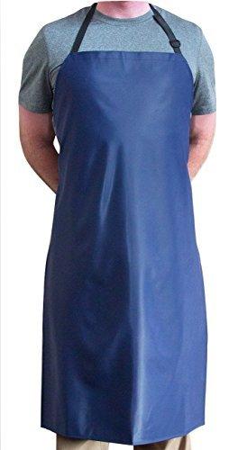 (Tuff Apron Blue Heavy Duty Waterproof with Neck Adjuster Durable Long Kitchen Dishwashing Bib 41