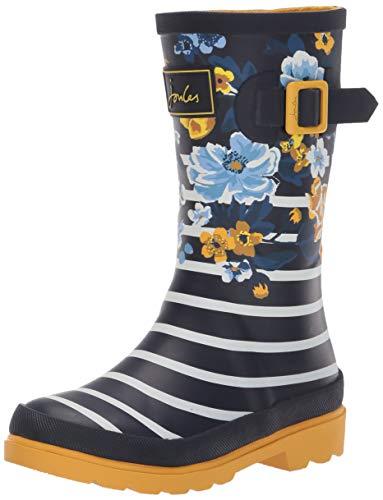 Joules Girls' JNR Welly Print Rain Boot, Navy Botanical, 13 M US Little Kid