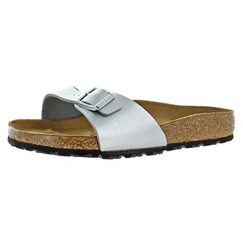 Single Navajo - Birkenstock Women's Madrid Birko-Flor EVA Slide Sandals Silver Size 40