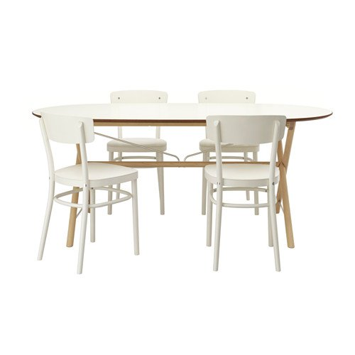 Ikea Table and 4 chairs, birch, white 12102.14238.226