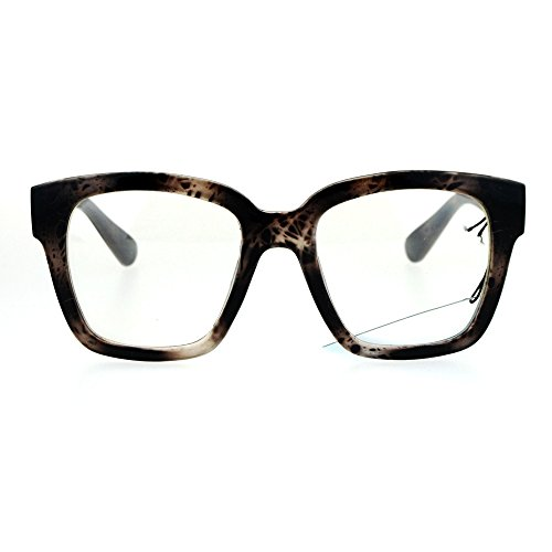 Nerdy Oversize Thick Horn Rim Clear Lens Fashion Eye Glasses Beige - Glasses Rim Thick