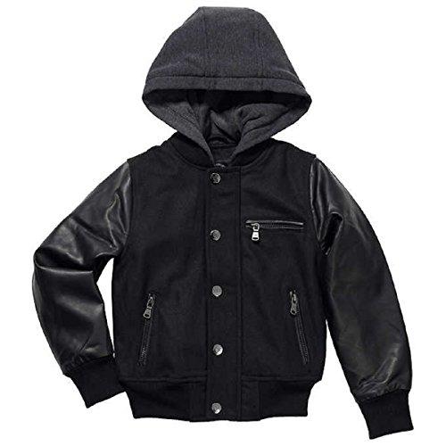 Urban Republic Boy's Novelty Varsity Leather Hooded Jacket (Large 14/16)