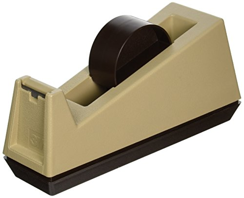 Heavy-Duty Weighted Desktop Tape Dispenser, 3'' Core, Plastic, Putty/Brown, Total 3 EA, Sold as 1 Carton 3' Heavy Duty Tape Dispenser