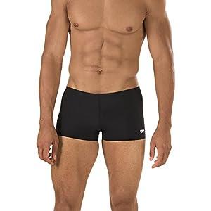 Speedo Men's Endurance+ Polyester Solid Square Leg Swimsuit, Black, 32