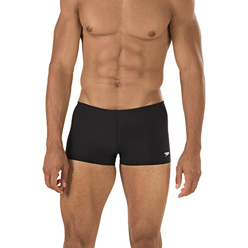 Speedo Men's Solid Square Leg Endurance+ Long-Lasting No-Pinch Swimsuit, Black, 34 (Mens Swin Briefs)