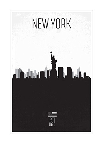 New York - Distressed Skyline Art - 24x36 Matte Poster Print
