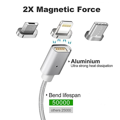 Magnetic Cable,3-in-1 Magnetic Lighting USB Cable and Type C Cable,Micro USB Cable,Fast Charging,Nylon Braided Sync Cord with High Speed Data Transfer for iOS Android Systems (Silver 1)