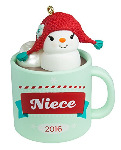 Hallmark 2016 Niece Hot Cocoa Mug and Marshmallow Snowman Christmas Ornament (Marshmallow Ornament)