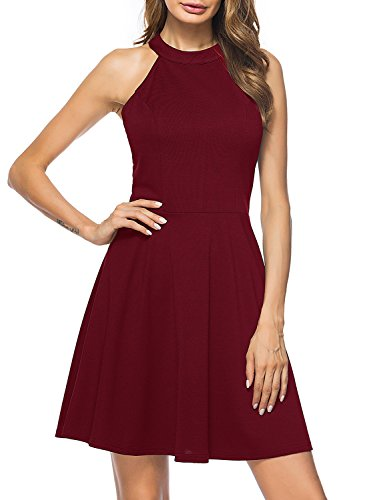 Lyrur Women's Lace Straps Open Back Semi Formal Party Dresses (S, 9009-Burgundy)