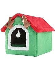 Kerst Kattenbed, 2021 Nieuw Kattenhuis Winter Warm Opvouwbaar Puppy Villa, Kattentent Kattennest Kerstmis Voor Kleine Medium Huisdieren Supplies