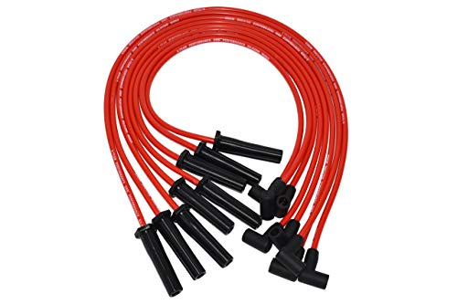 A-Team Performance Silicone Spark Plug Wires Set Compatible with BBC Big Block Chevy Chevrolet GMC Straight Boot Wires 396 402 427 454 502 572 Red 8.0mm