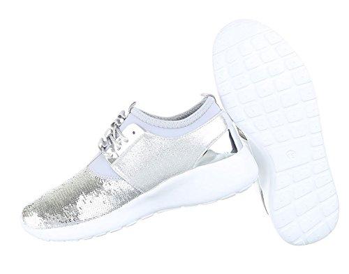 Damen Sneakers Schuhe Freizeitschuhe Silber 39 l2Fhi