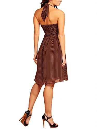 MY EVENING DRESS - Vestido - cuello hálter - Floral - Sin mangas - para mujer Brown with Black Stripes