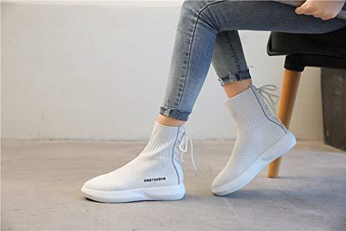 de Punto Calzado Transpirables Hop elásticos Deportivo Calcetines Calcetines blanco Botas de Casuales Medias Lucdespo Zapatos Hip Señoras 1Pq0O0