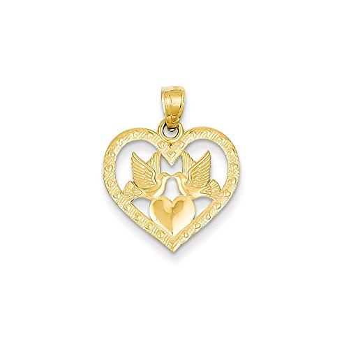 Dove Heart Pendant Love Birds Charm Fashion 14K Yellow Gold 14k Yellow Gold Love Birds