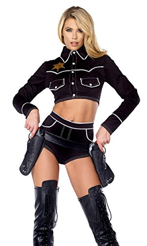 Forplay Women's Shoot 'Em Down Cowgirl Top and Shorts, Black, Medium/Large]()
