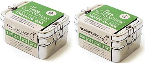 ECOlunchbox Three-in-One Stainless Food Canister & Lunch Box, Pefect for Children's School Lunch & Snacks-Pack Of 2, Regular Size
